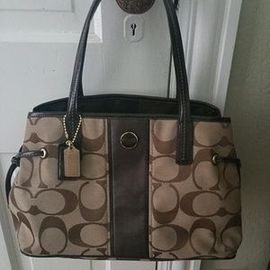 Coach Classic Tan and Brown Canvas shoulder bag